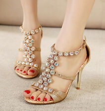 Dazzling strappy sandals women's floral insole shoes high heels diamante T-strap