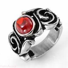 Stainless Steel Dragon Claw Ring w Red Cubic Zirconia Punk Biker for Men