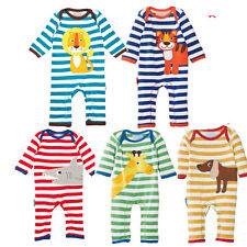 New Baby Toddler Boy Girl Animal Printed Clothes Striped Romper Jumpsuit Outfit