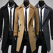 Mens Woolen Slim Fit Trench Double Breasted Long Jacket Outwear Coat Overcoat