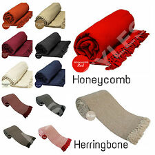 LARGE 100% COTTON WOVEN SOFA BED THROW COVER PROTECTOR BLANKET 9 COLOURS 5 SIZES