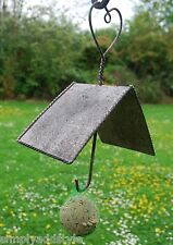 Aged Rustic Metal Bird Feeder for Fat Balls or Apples