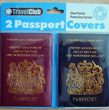 Two(2)Sealed UK Passport Holder/Covers in Burgundy&Black-Travel Protector System