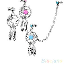 Dream Catcher Star Helix Tragus Cuff Ear Piercing Cartilage Stud Dangle Earring