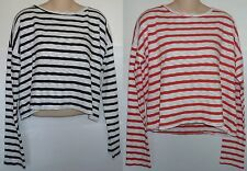 Womens AEROPOSTALE Long Sleeve Striped Boxy Crop Sweater NWT #1288