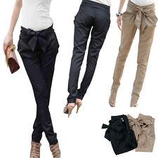 Women Skinny Long Trousers OL Casual Bow Knot Harem Slim Comfy Pants Promotion