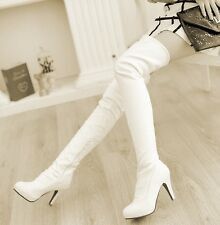 Winter Womens shoes cuffed high heel sexy over the knee thigh high boots New