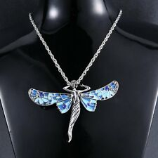 Fashion Retro Chain Dragonfly Angel Silver Crystal Pendant Necklace Jewelry Gift