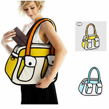 3D Jump Style 2D Drawing From Cartoon Paper Bag Comic Backpack Bag