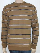 Volcom Manic Crew Sweatshirt Mens Brown Blue Striped Classic Fit Sweater New NWT