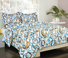 Brampton Orange Brown Blue Circles Bed in a Bag Comforter & Sheet Set
