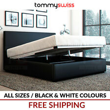 TOMMY SWISS: KING, QUEEN & DOUBLE GAS LIFT STORAGE PU LEATHER BED FRAME - Arthur