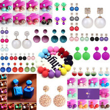 1 Pair Fashion Luxury Double Sided Big Beads Pearl Earrings Ear Studs For Women