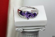 Engagement Promise Ring 3 Stone Heart Shaped Purple Amethyst Sterling Silver