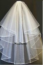 Ivory or white 2T Wedding Bridal veil finger tip Pencil Edge with comb wedding