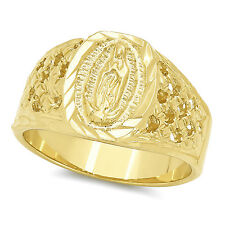 Mens 22mm Yellow Gold Filled Classic Catholic Virgin Mary Blessed Mother Ring