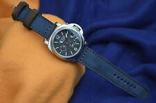 MA WATCH STRAP 24 MM REAL NUBUK LEATHER F. PANERAI HANDMADE FOREST BLUE/BROWN