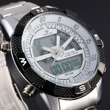 White Mens Solar Digital Dual Time Sport Stainless Steel Quartz Waterproof Watch