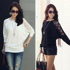 1PC Womens Long Sleeve Casual Dolman Lace Loose T-Shirt Batwing Tops Pop