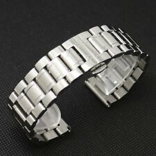 Men's Solid Stainless Steel 18/19/20/22/24/26/28mm Watch Band Deployment Buckle