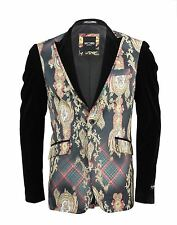 Mens Printed Black Yellow Red Suit Blazer Smart Casual Party Wedding Wear Jacket
