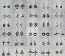 Silver Plated Earrings with Tibetan Silver Charm - Large Choice - Free Gift Bag