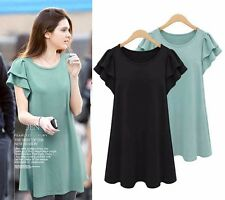 New Summer Women Fashion Plus Size Ladies Loose Casual Chiffon Shirt Dresses