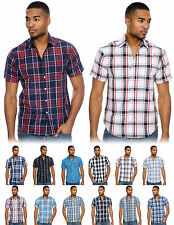 Mens Plaid Shirt Short Sleeve Designer Slim Fit Fitted Button Black Red Blue New