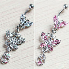 Crystal Butterfly Dangle Ball Barbell Belly Button Navel Ring Body Piercing K3