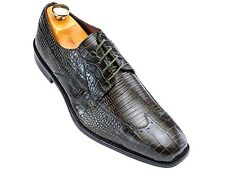 Stacy Adams Olive Lizard Print Leather Mens Wingtip Dress Lace Up Derby Shoe
