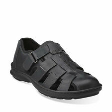 CLARKS  SWING COVE MEN'S SANDALS BLACK LEATHER STYLE #68023