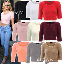 Fluffy Knit Crop Jumper Top Casual Soft Furry Mohair Eyelash Ladies Womens