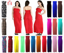 WOMENS SHEERING BANDEAU LONG STRAPLESS BOOBTUBE MAXI DRESS PLUS SIZES 8 26