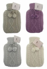 Hot Water Bottle with Luxurious Chunky Knit Cover and Pom Poms . Colour Choice