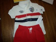 New Ralph Lauren Polo 2pc shirt shorts set outfit khaki red white 6 or 9 months
