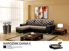 UNIVERSAL HAND CORNER SOFA BED - DIANA II BROWN - FABRIC & FAUX LEATHER 266CM