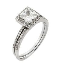 925 rhodium plated sterling silver bridal set square clear CZ