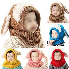 Winter Warm Baby Kids Toddler Hood Scarf Kintted Woolen Neck Wrap Head Cover Cap