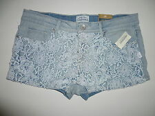 Womens AEROPOSTALE Crochet-Front Light Wash Denim Shorty Shorts NWT #0377
