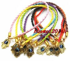 "10/100pcs Leather Cord Mixed HAMSA HAND ""Evil Eye""String Bracelets Lucky Gold"