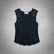Abercrombie & Fitch Coby Top Womens Navy Blue Sequined Embellished Shirt New NWT