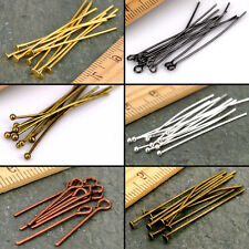 Lots 50/100Pcs Eye Pin Silver/Golden Plated Jewelry Findings 16/20/30/40/50/60MM