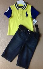 Ralph Lauren Polo Baby Boys Two Piece Shirt and Pants Set Size 9, 12, 24 Months