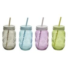 Retro Glass Jam Jar Bottle with Straw, old fashioned drinking gift glas041