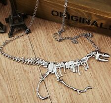 """New Jewelry silver gold black Linked Dinosaur Fossil 5""""*4"""" Pendant Necklace 22"""""""