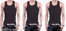 NEW MENS BLACK 3 PACK 100% COTTON SINGLET TOPS TOP SINGLETS MEN'S CHESTY