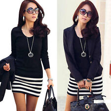 1PC Sexy Women Lady Long Sleeve Crew Neck Striped Slim Fit Party Dress Pop