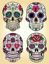 candy sugar skull day of the dead decal vinyl sticker remove re-use color print