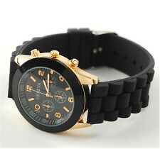NEW Unisex Geneva Silicone Jelly Gel Quartz Analog Sports Wrist Watch black
