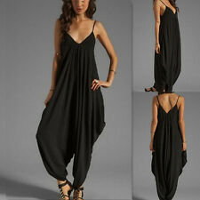 Women V back Loose Jumpsuit Loose Harem Pants Trousers Jumpsuit Maternity Dress